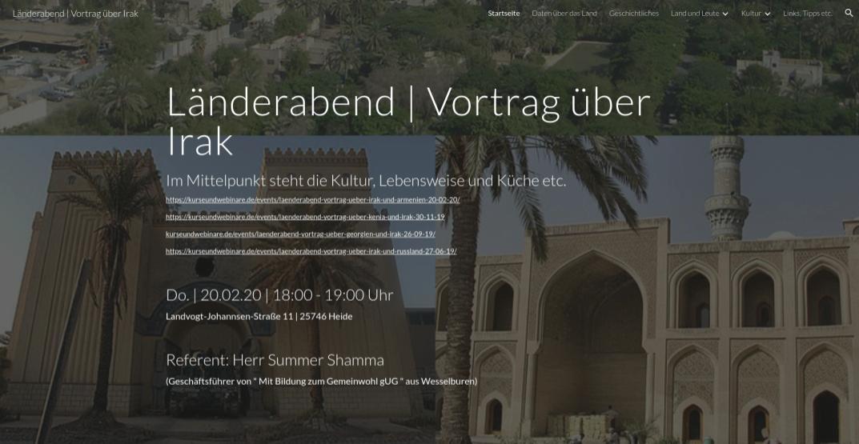 Länderabend: Irak-Vortrag über Kultur, Musik, Literatur